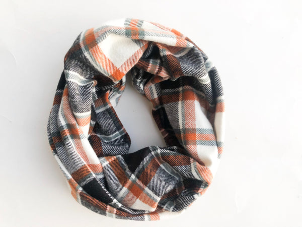 Fall Plaid Infinity Scarf - Rust, Cream, Black