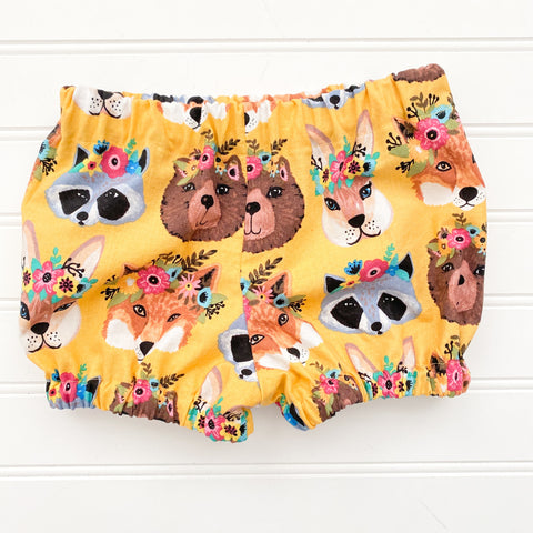 Woodland Forest Animals Mustard Bloomers Shorties