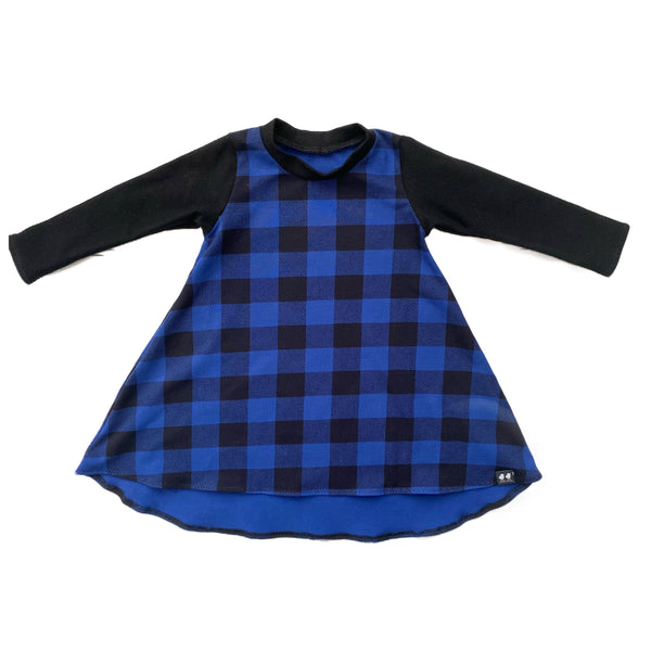 Blue Buffalo Plaid High Low Dress- PREORDER