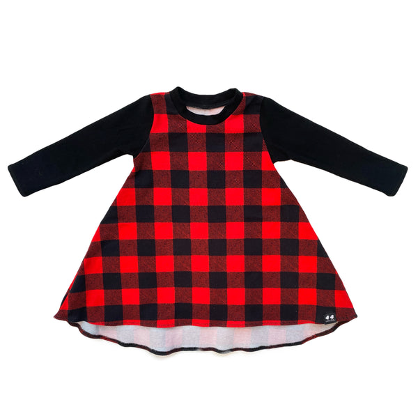 Red Buffalo Plaid High Low Dress