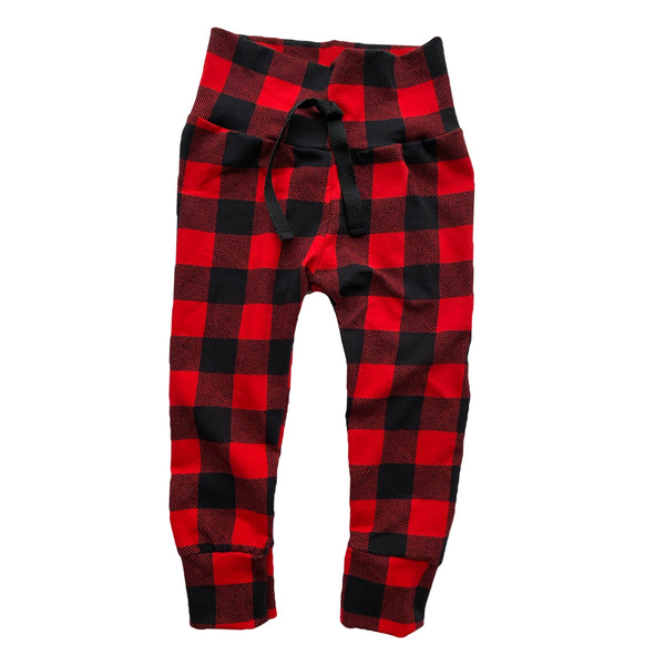 Red Buffalo Plaid Leggings Joggers Comfy Pants