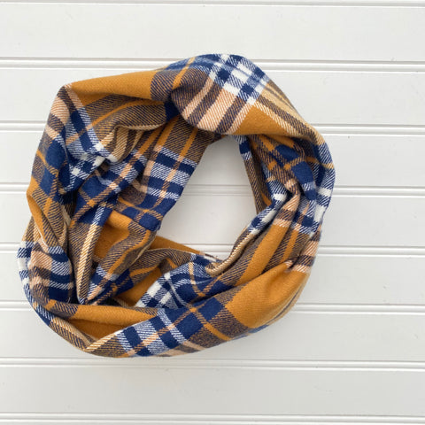 Fall Plaid Infinity Scarf - Denim Blue, Cream, Mustard, Orange