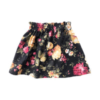High Waist Black Pink Roses Floral Skirt