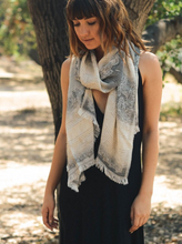 Very Soft Black Medallion Print Frayed Long Scarf