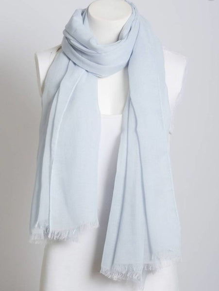 Light Blue Lightweight Frayed Scarf