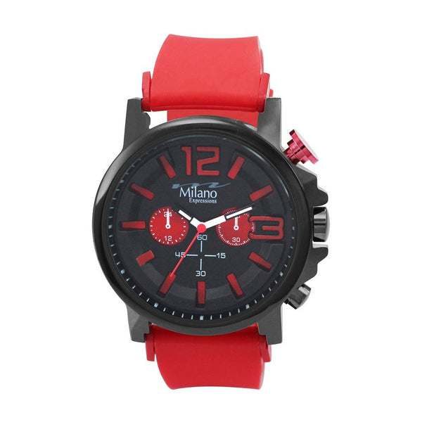 Thibodaux Expressions Red Rubber Strap/Black Watch