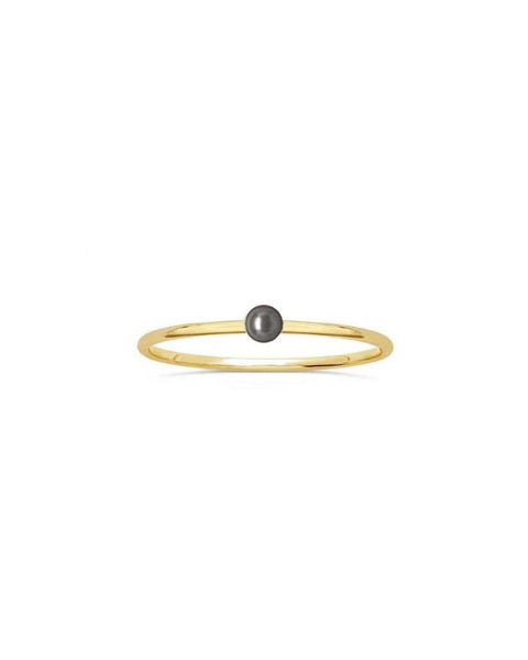 Solitary Pearl Gold Ring - Black