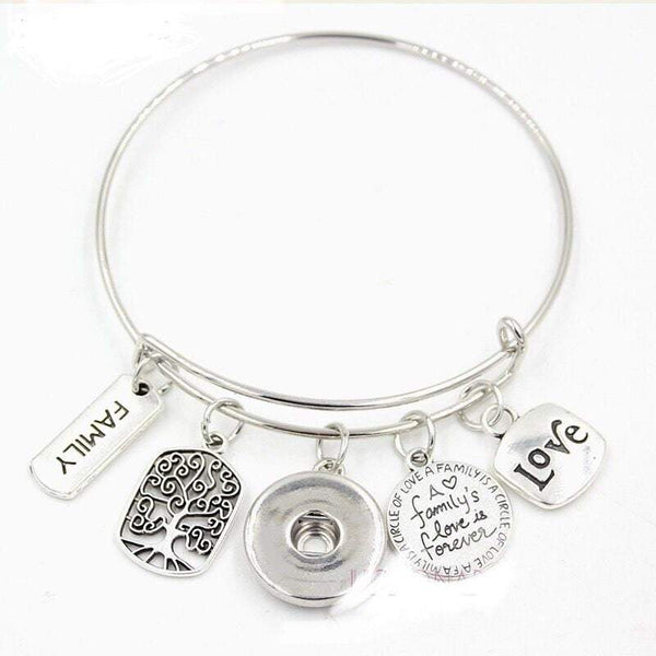 Bracelet - Family Love - Tree of Life - Bangle Bracelet - Customize with one of Our Snaps - Includes Four Pictured Charms and Your Choice of Snap
