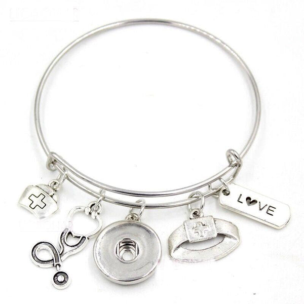 Nurse - Nurses Aide - Themed Bangle Bracelet - Customize with one of our Snaps - Includes Four Pictured Charms and Your Choice of Snap