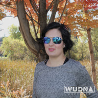 Real Ebony Wood Silver Framed Slim Aviators by WUDN