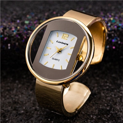 Fashion Gold Stainless Steel Women's Bracelet Bangle Watch