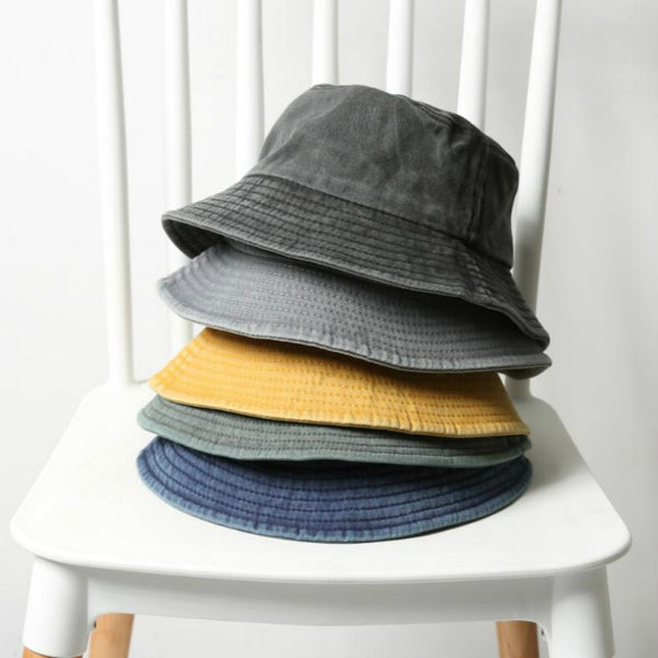 Foldable Denim Bucket Hat Cotton Washed