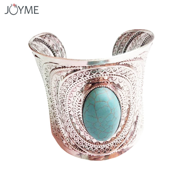 Unique Blue Stone Open Wide Arm Cuff Bangle