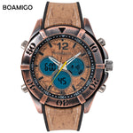 BOAMIGO Men's Wood Design Wristwatch