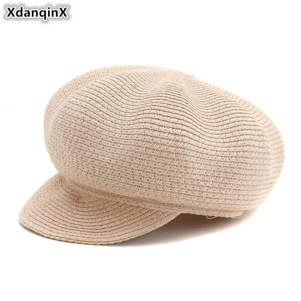 Women's Straw Breathable Newsboy Cap