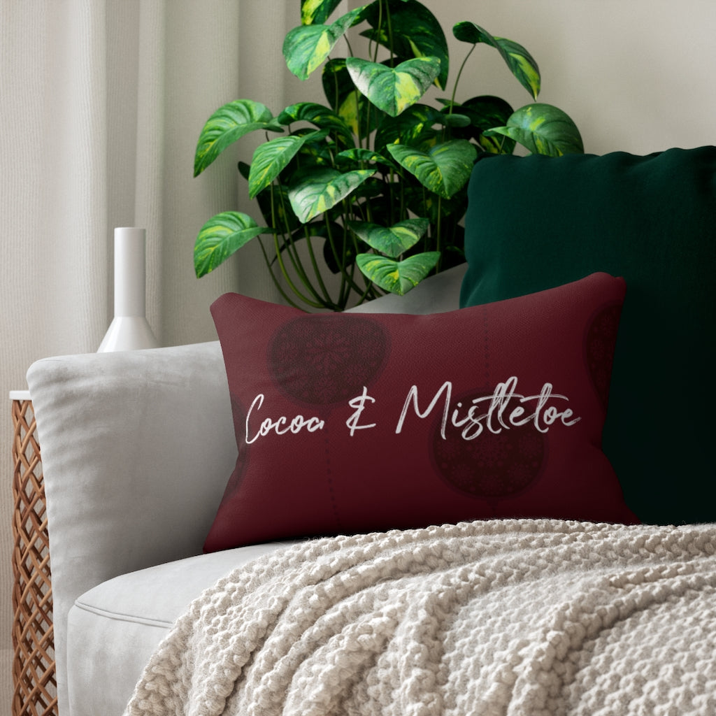Red Cocoa & Mistletoe Throw Pillow