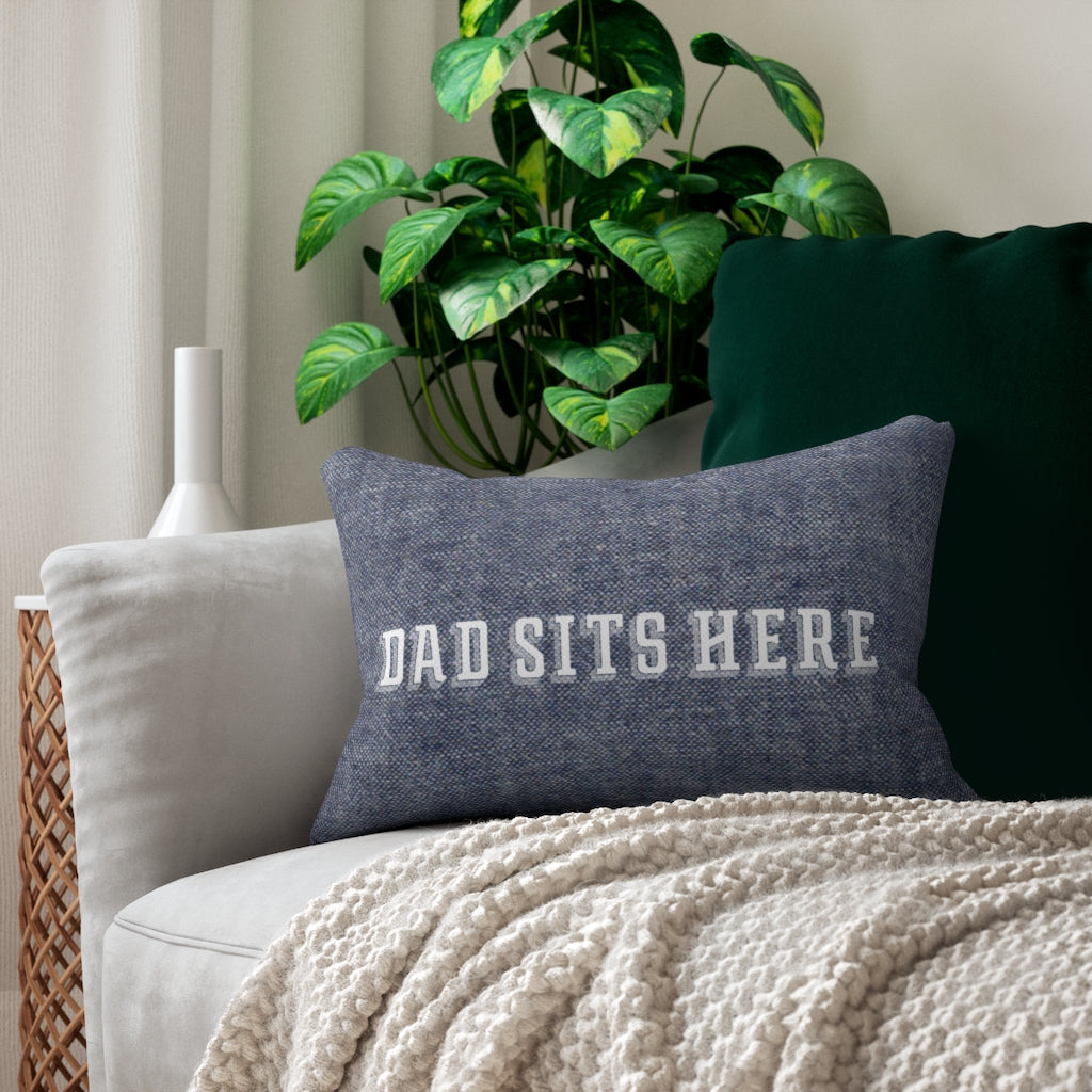 Dad Sits Here Chambray Throw Pillow