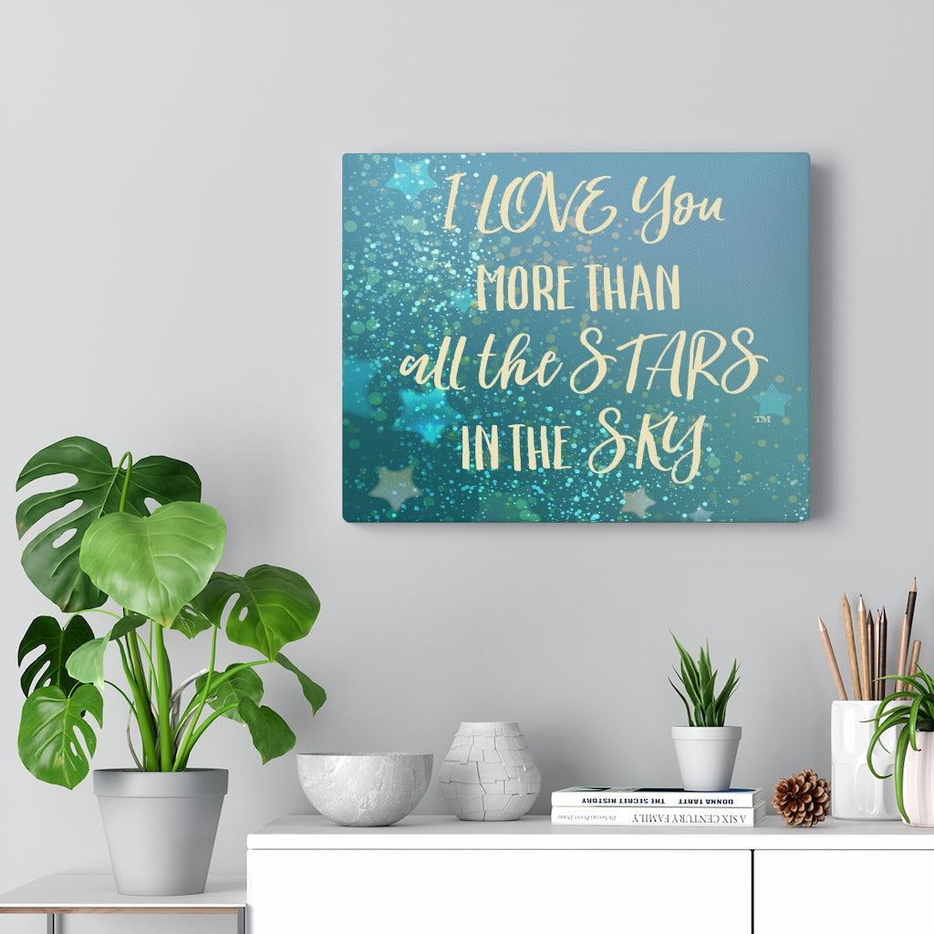 Love You Stars in Blue - Canvas Gallery Wrap