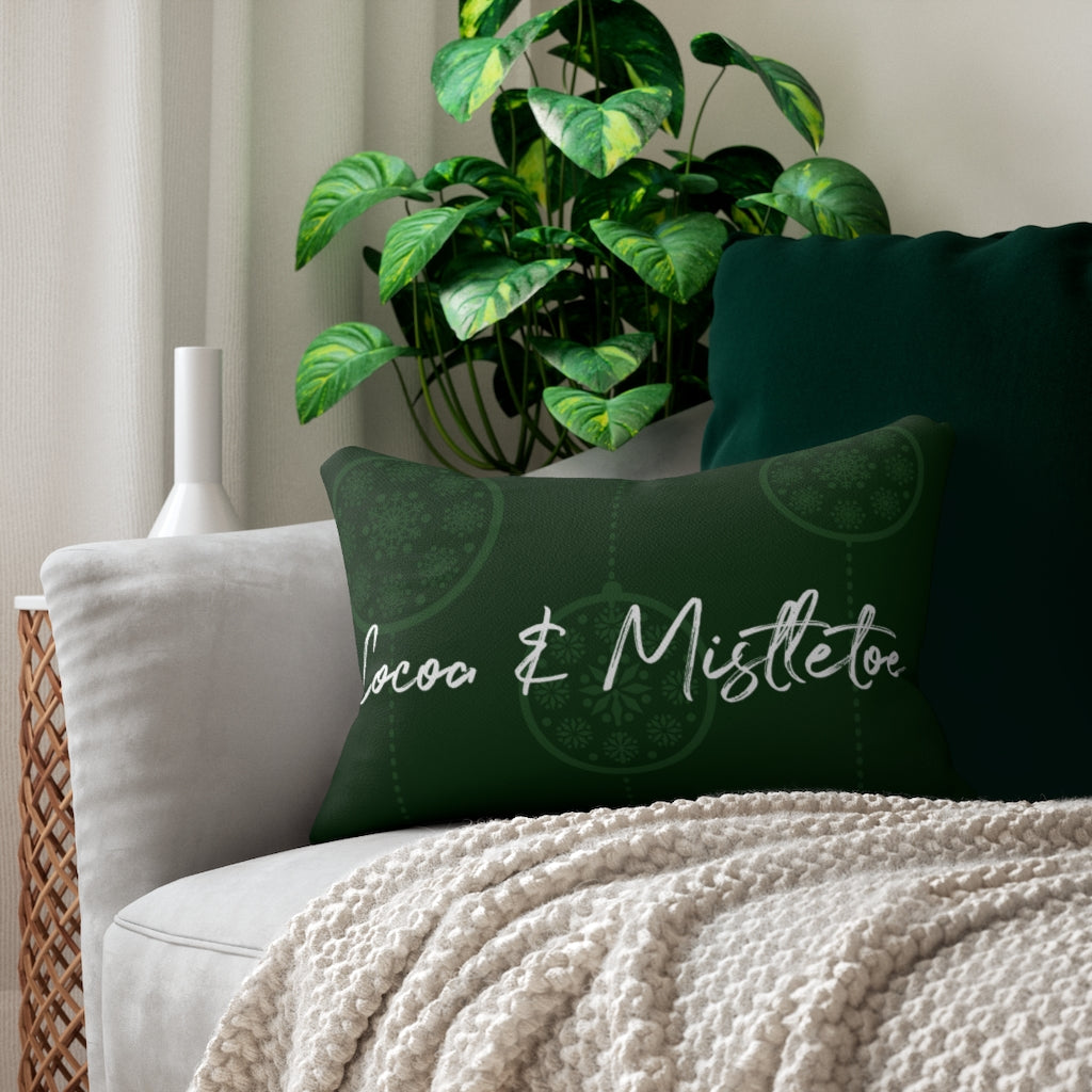 Green Cocoa & Mistletoe Throw Pillow