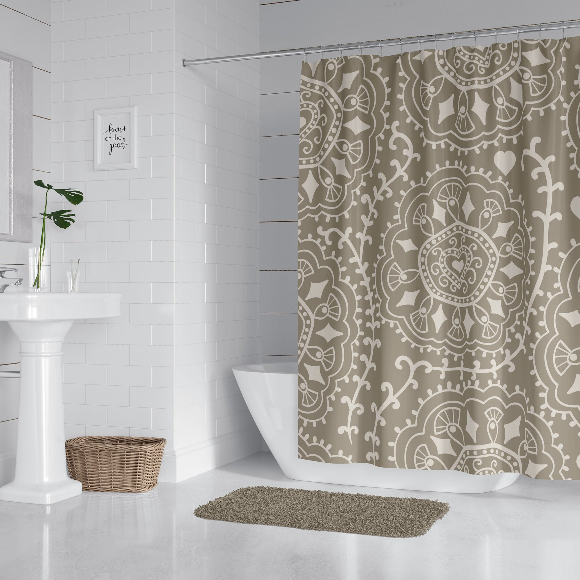 Ash Diamond Swirl Shower Curtain
