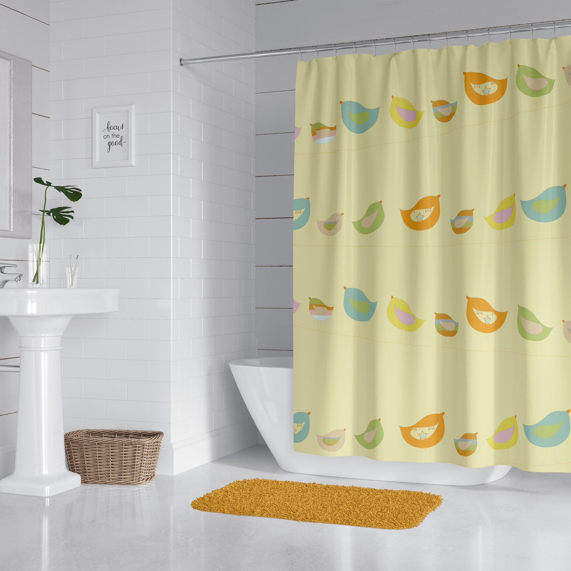 Birds On A Wire Yellow Shower Curtain