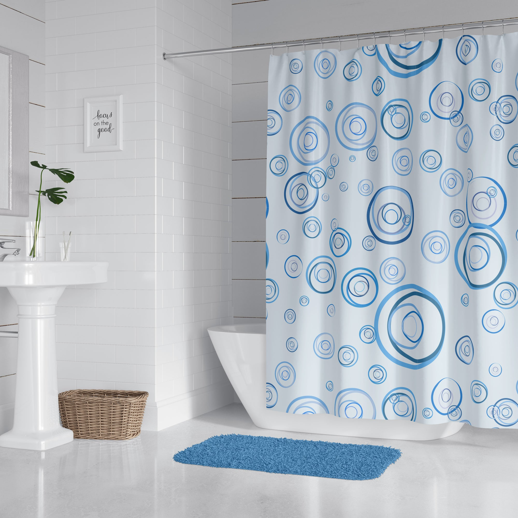 Blue Circle Fun Shower Curtain
