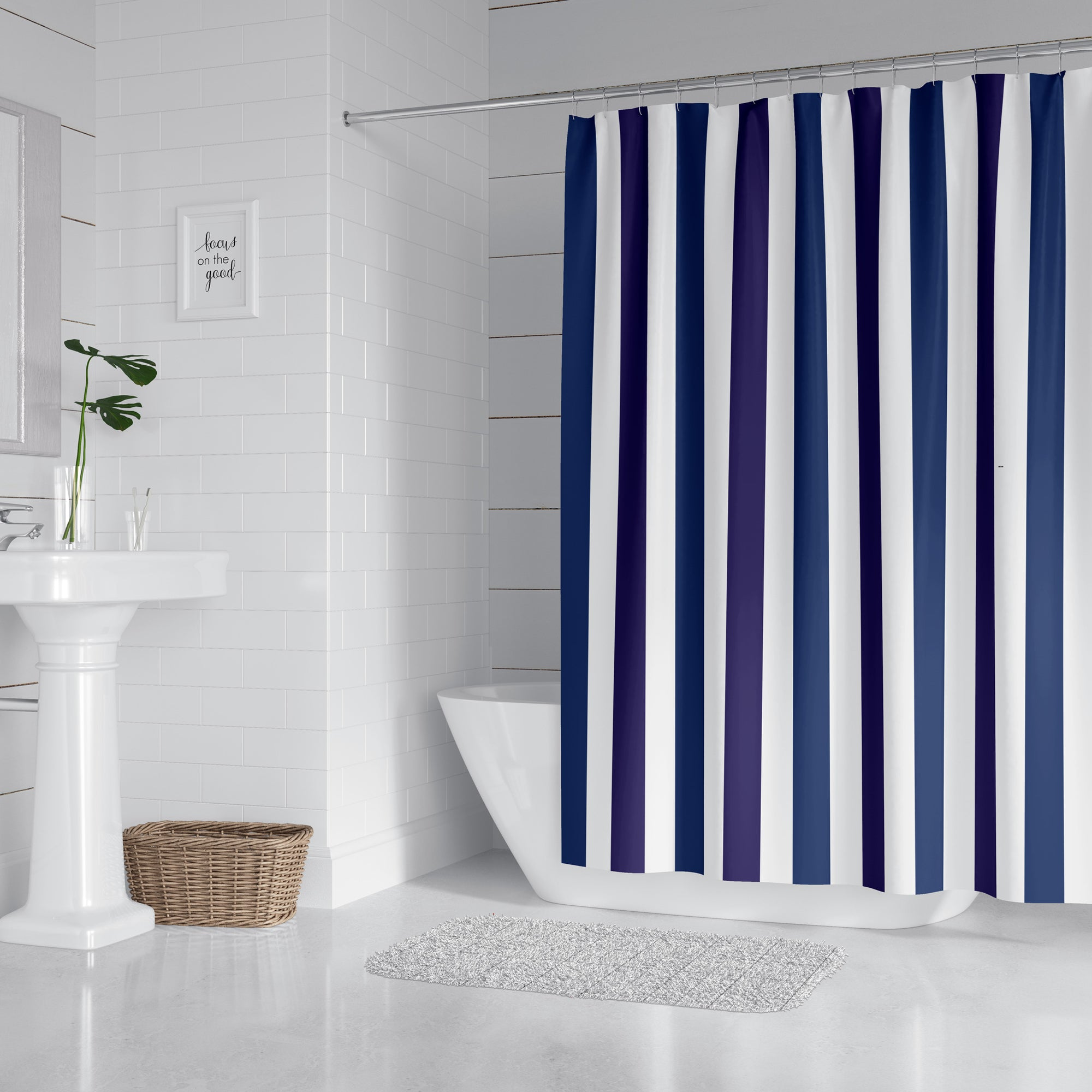 Blue and Purple Striped Shower Curtain