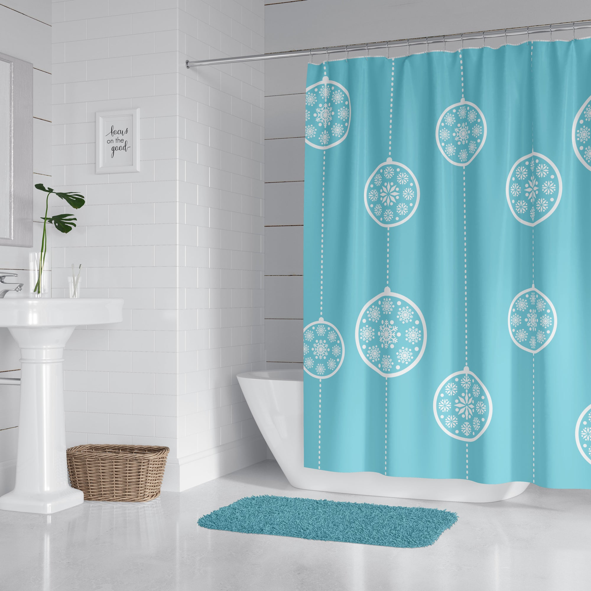 Holiday Blue Ornaments Shower Curtain