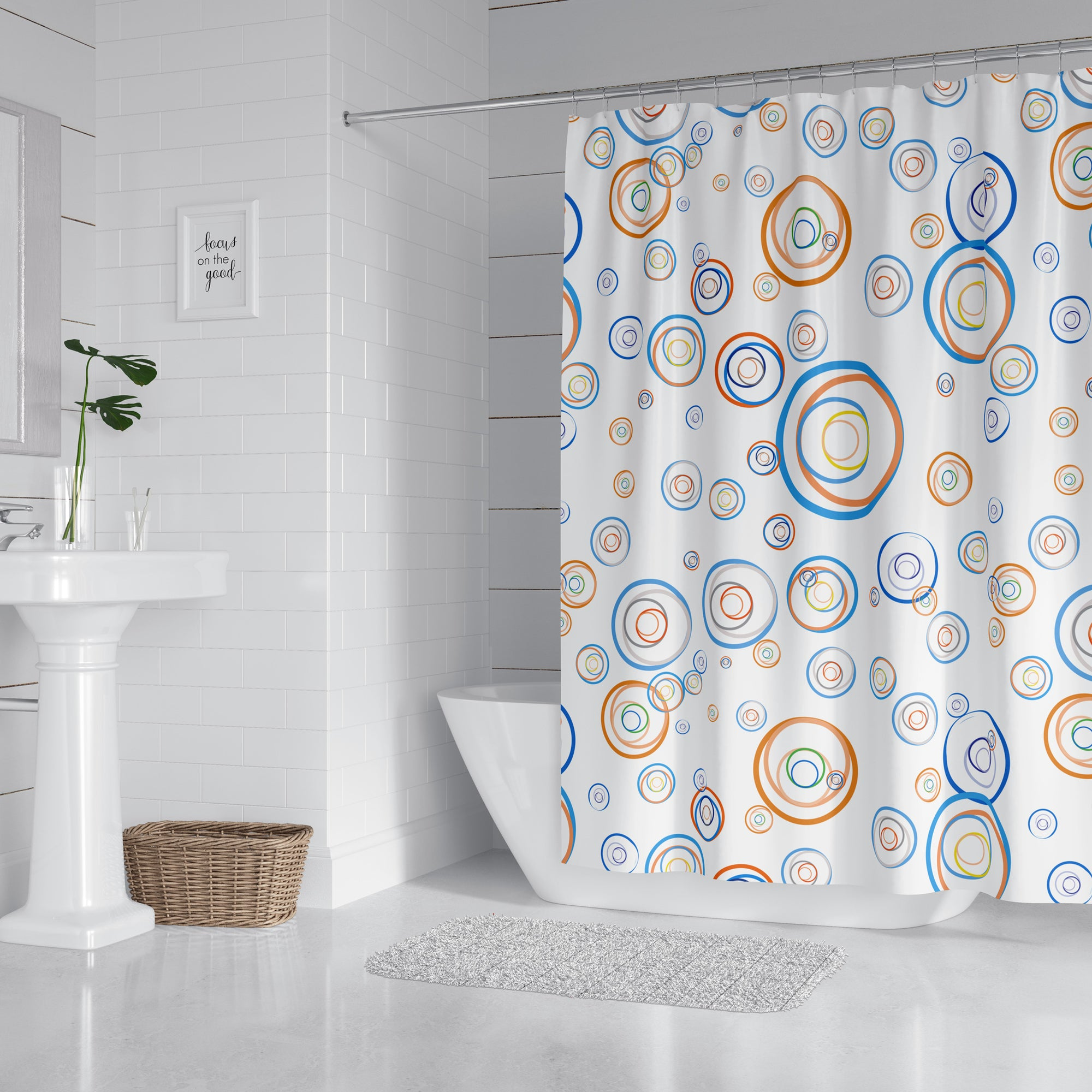Circle Fun Modern Shower Curtain