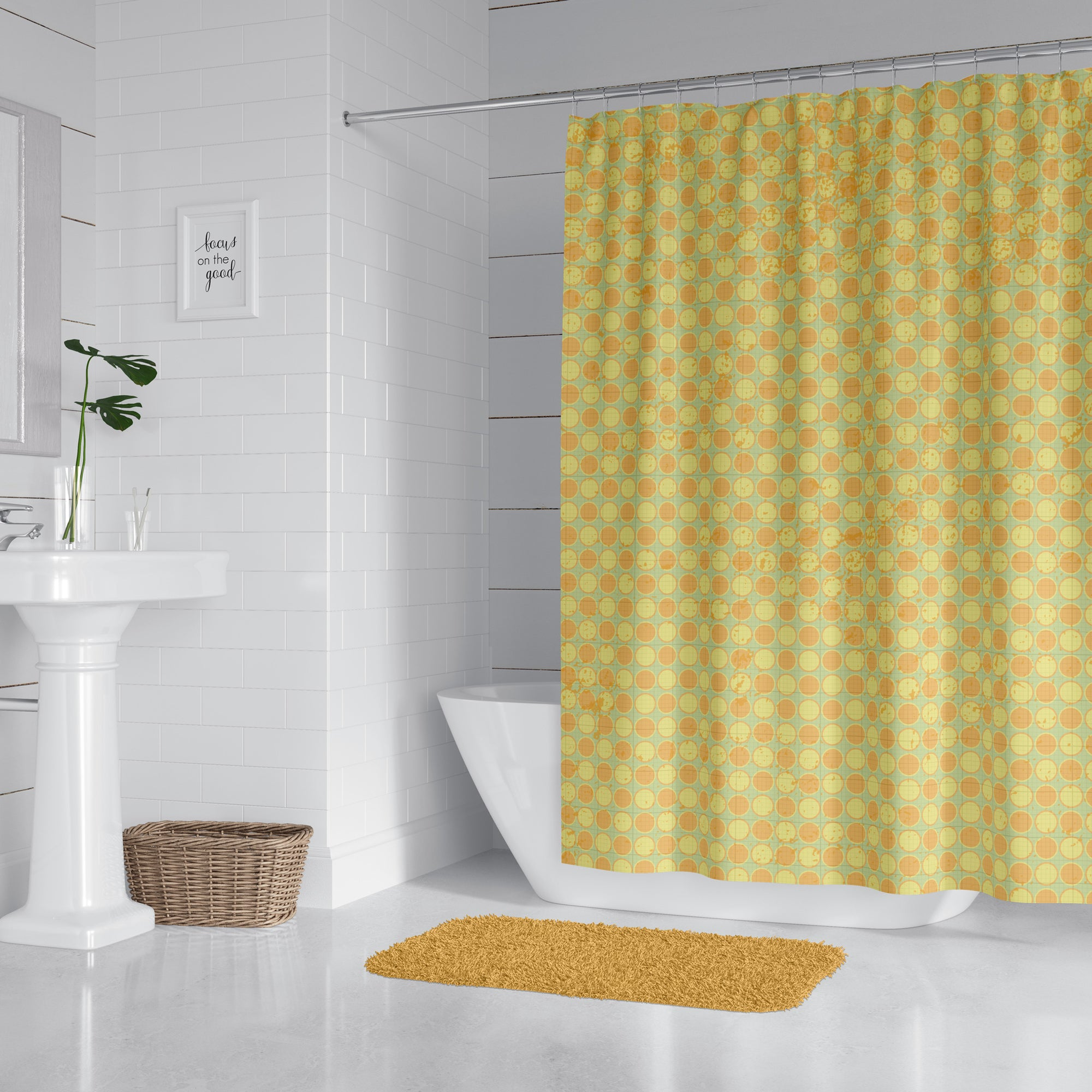 Distressed Polka Dot Shower Curtain
