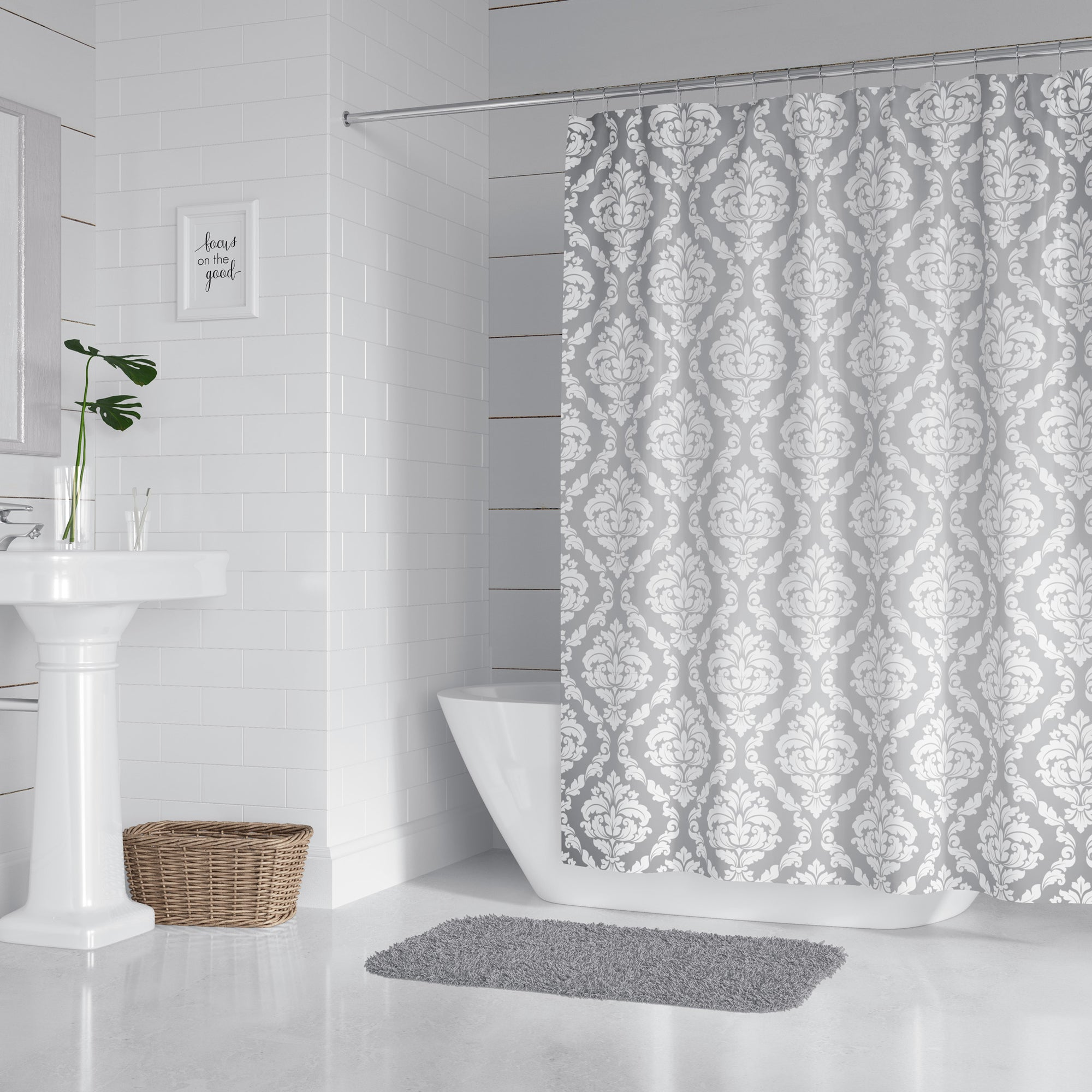 Elegant Gray Damask Shower Curtain