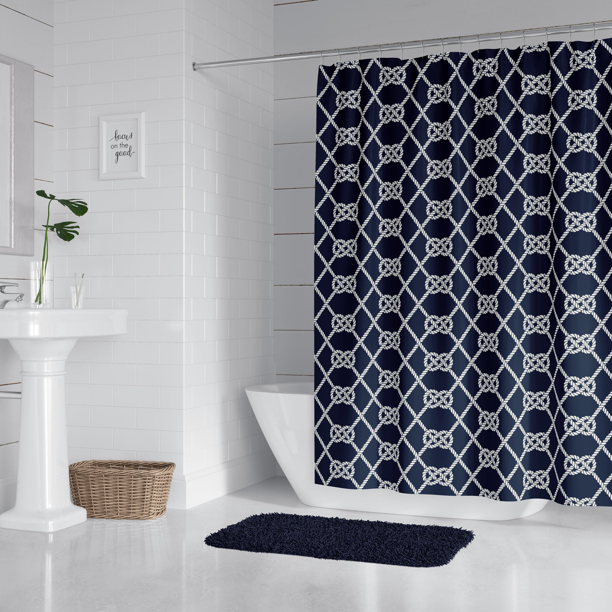 Navy Nautical Knots Shower Curtain