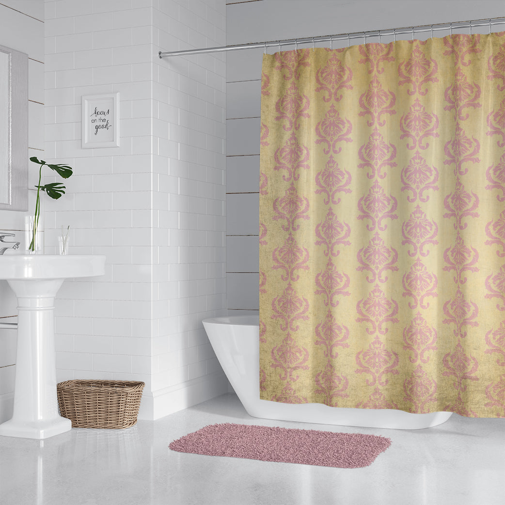 Damask Pink and Cream Grunge Shower Curtain