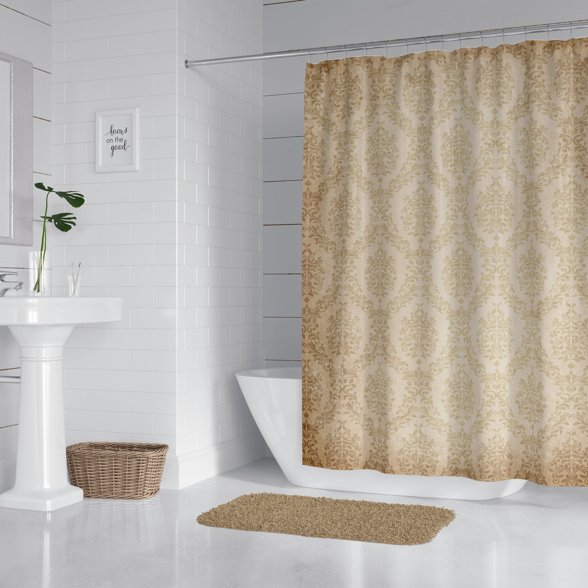 Damask Taupe Grunge Shower Curtain