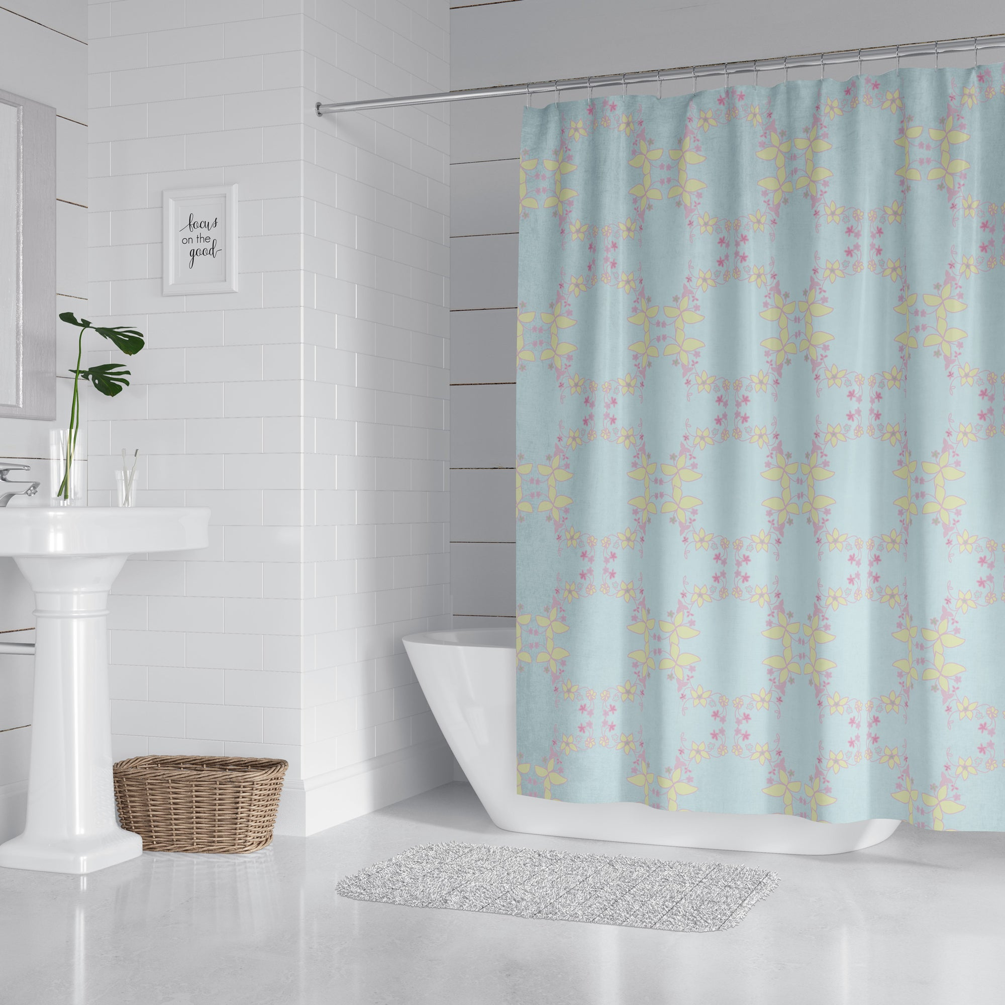 Floral Yellow & Lavender Lei Shower Curtain