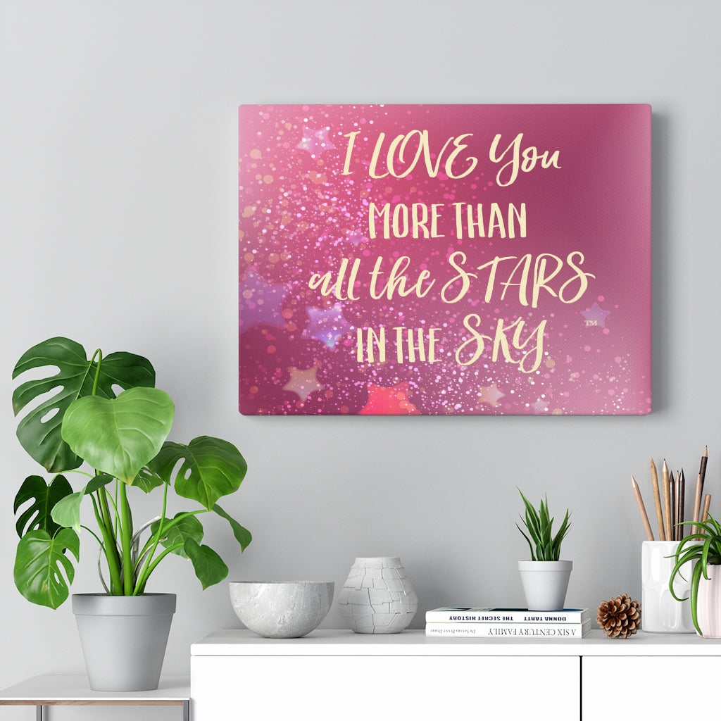 Love You Stars in Pink - Canvas Gallery Wrap