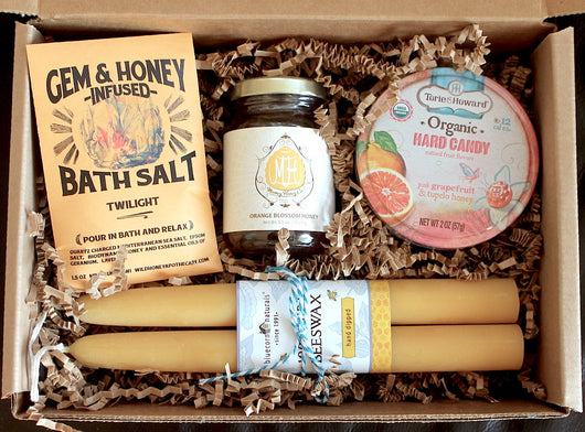 Raw Honey Gift Box with Honey Candy, Pure Beeswax Taper Candle, Honey Bath Salt, and Raw Honey from California.