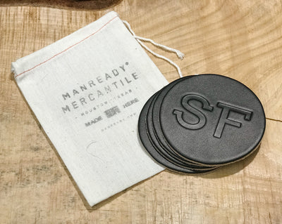 Leather Coasters - SF - Black - Set of 4