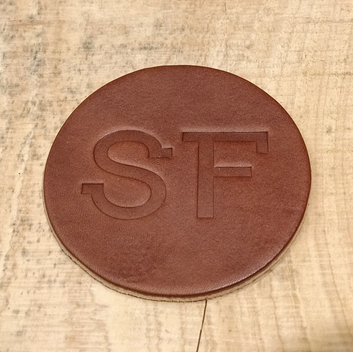 Leather Coasters - SF - Brown - Set of 4