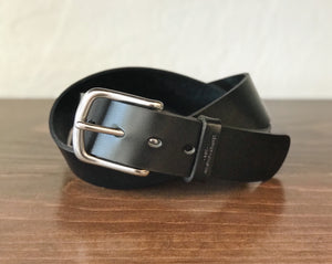 Leather Belt - Black w/ Stainless Steel Buckle