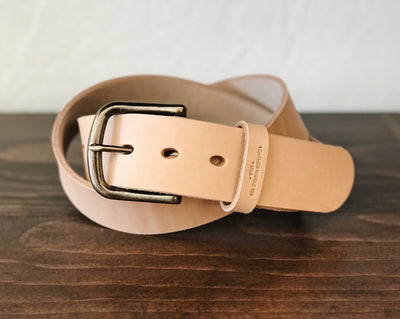 Leather Belt - Natural w/ Antique Solid Brass Buckle