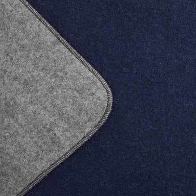 Summit Solid Reversible Wool Blanket - Navy / Gray