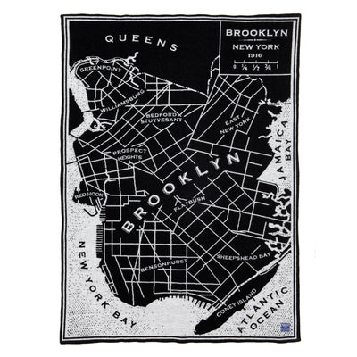 Vintage City Map Wool Throw - Brooklyn