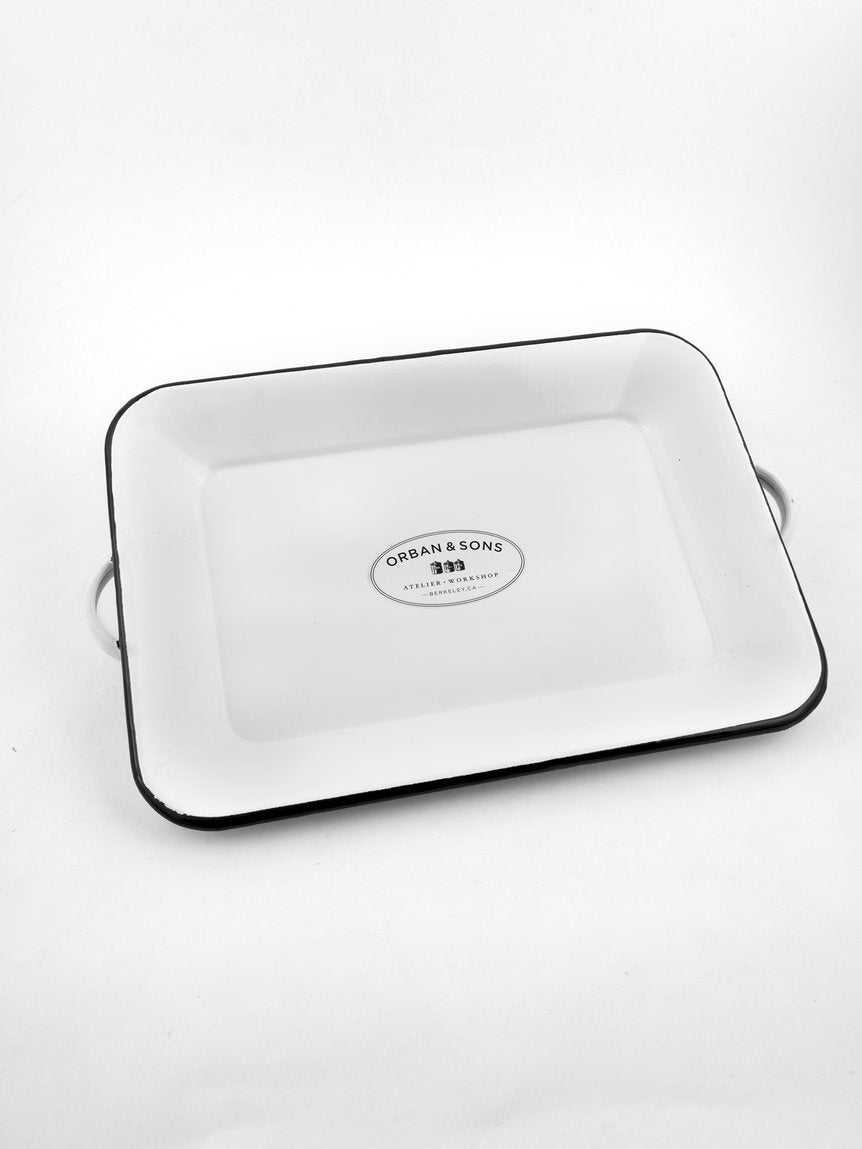 MEDIUM ENAMEL TRAY WITH HANDLES
