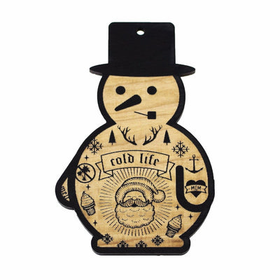 Wooden Ornament - Tattooed Snowman
