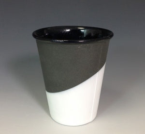 Ceramic + Rubber Paper Cup - Black w/ White Rubber