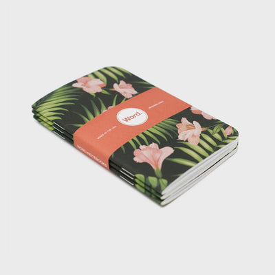 Word. Notebooks - Aloha Leaves (3 Pack)