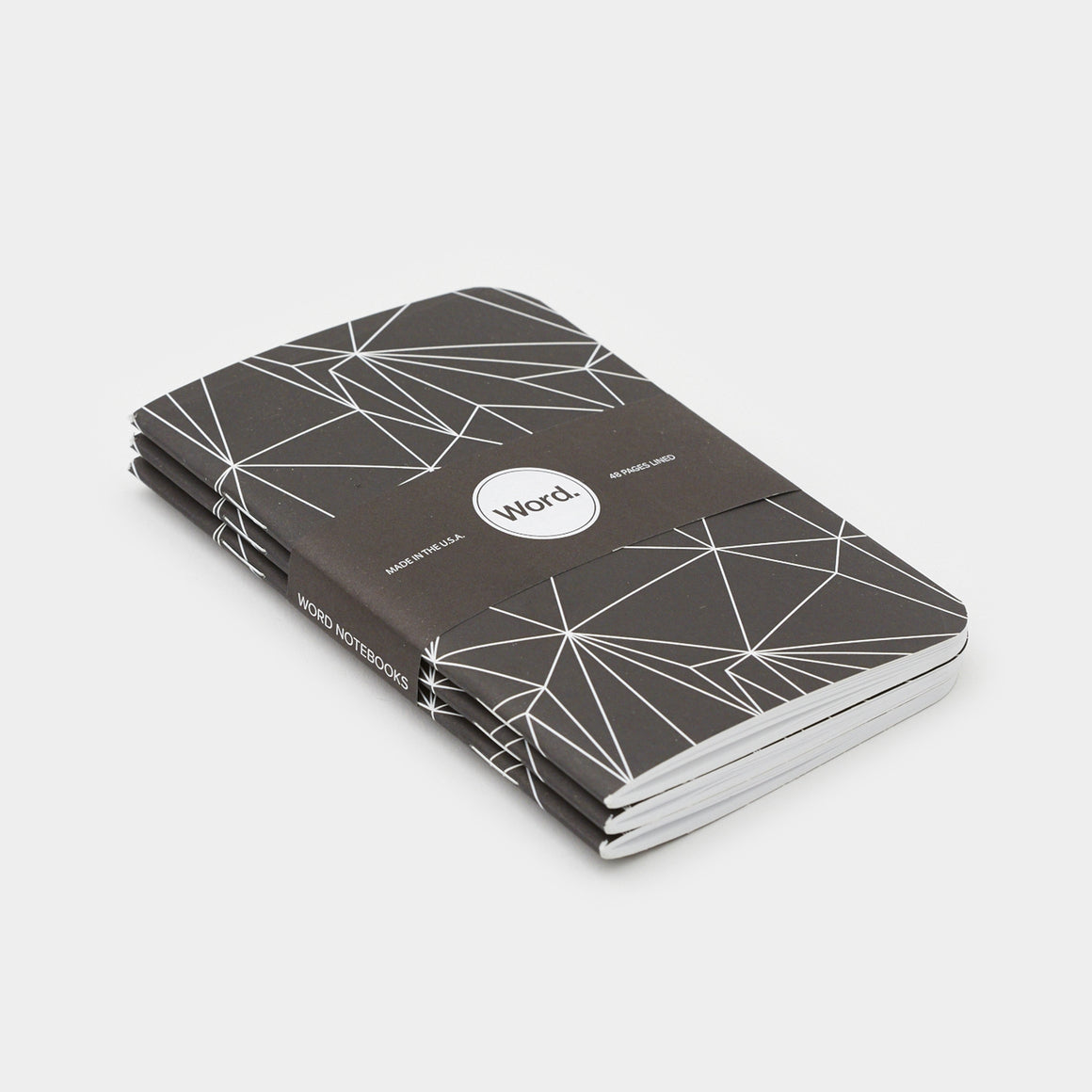Word. Notebooks - Black Polygon (3 Pack)