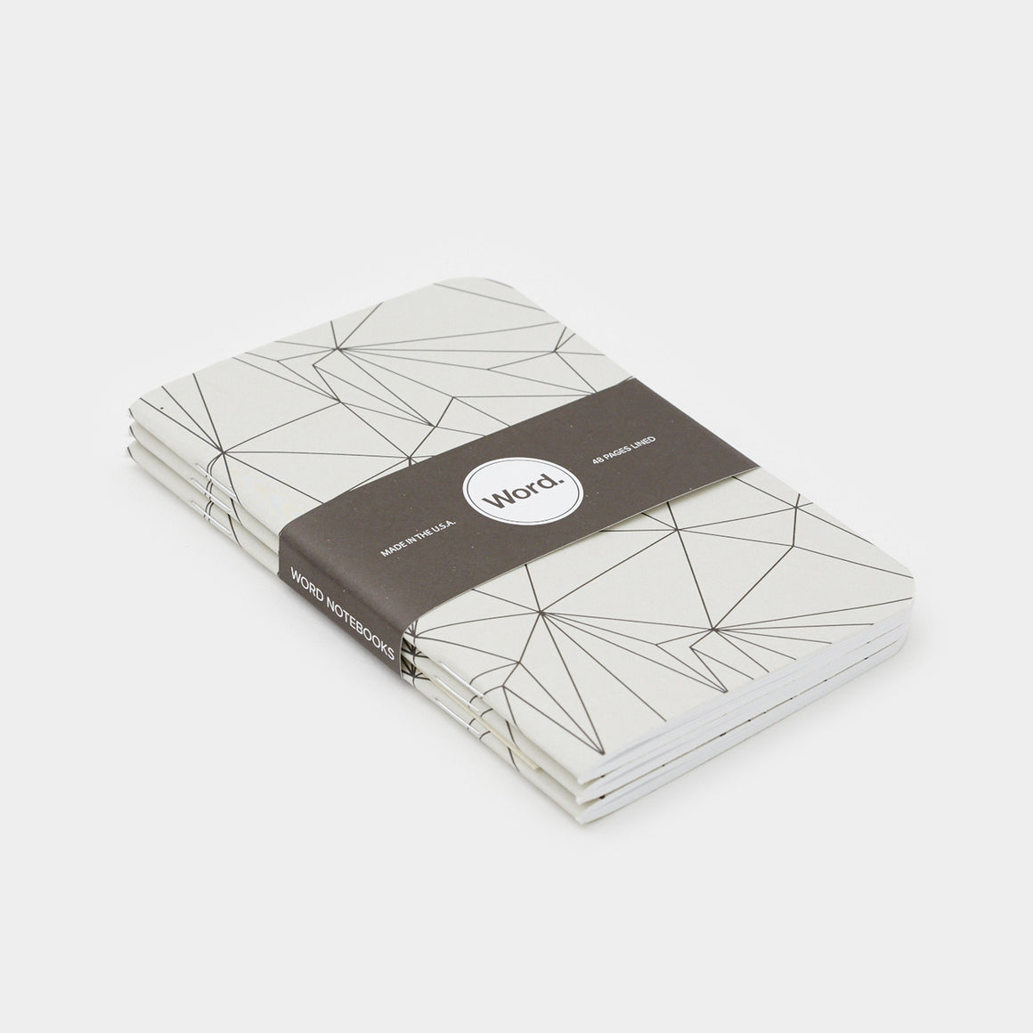 Word. Notebooks - Grey Polygon (3 Pack)