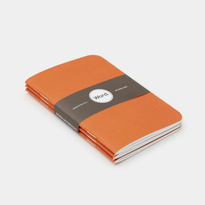 Word. Notebooks - Orange (3 Pack)